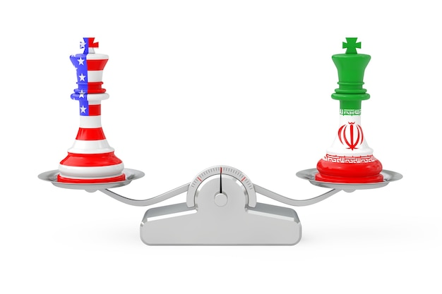 Us america and iran kings chess over simple balance scale on a white background. 3d rendering