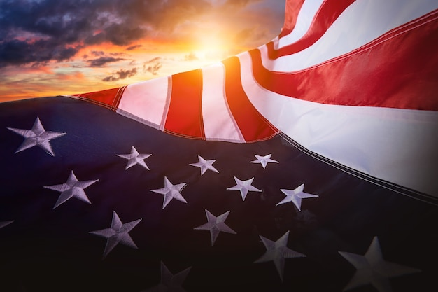Us american flag for usa memorial day or veteran's day and labor day with 4th of july celebratio and