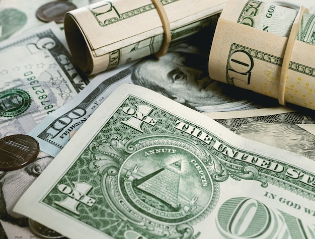 Us dollar bills in closeup in dark environment