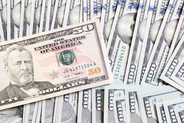 Us dollar bills. one hundred dollar bills background. top view of business concept on background with copy space