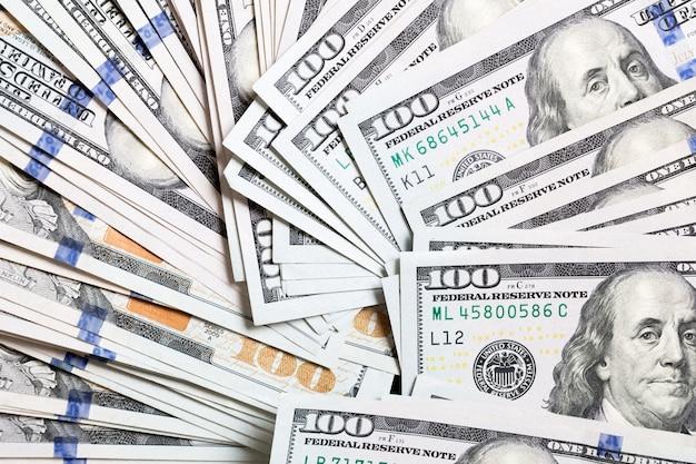 미국 달러 지폐. 100 달러 지폐 표면. 복사 공간 배경에 최고 볼 수 있습니다.