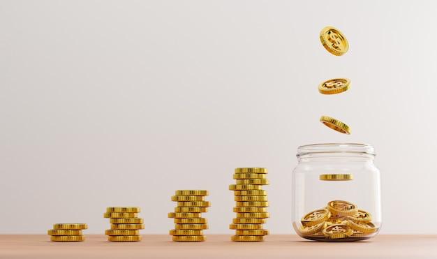透明な瓶の中の金貨に落下する1ドル硬貨と、3dレンダリングによる投資と銀行の金融節約預金の概念のためのテーブル上のコインの積み重ね。