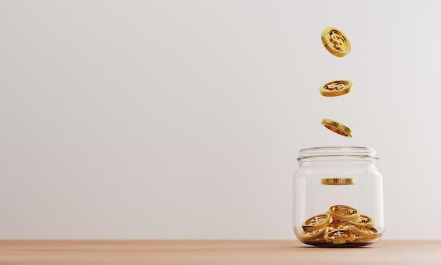 3dレンダリングによる投資と銀行の金融貯蓄預金の概念のために、テーブルの透明な瓶の中の黄金のコインに1ドル硬貨が落ちます。