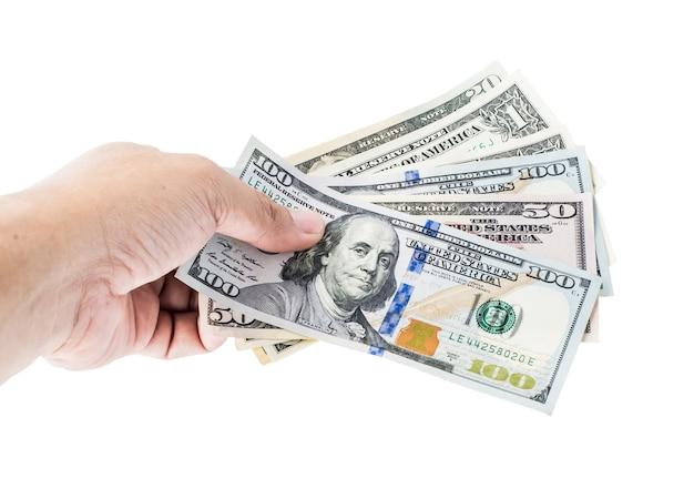 Валюта доллар сша, банкноты америки, деньги и финансы, изолированные на белом фоне