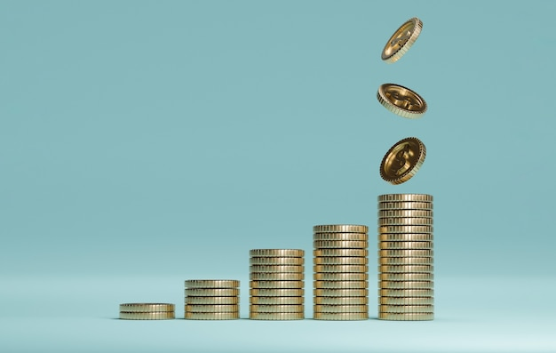 米ドルの現実的なコインは、青い背景、3dレンダリング技術によるお金の節約とビジネス利益の概念で増加するために積み重なって落下します。