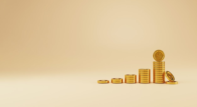 コピースペース、3dレンダリング技術によるお金の節約とビジネス利益の概念で黄色の背景に増加するために積み重ねて落ちる米ドルの現実的なコイン。
