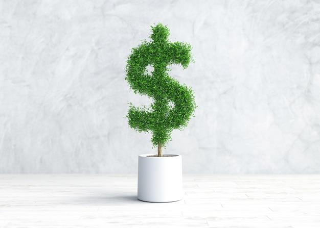 미국 달러 모양의 냄비에 녹색 식물