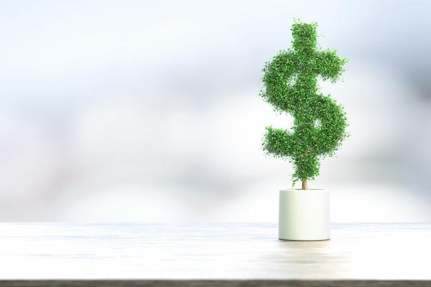 Дерево в форме доллара сша в горшке на деревянном столе
