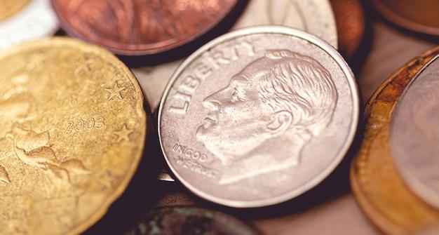 근접 촬영에서 미국 달러 1 센트 동전