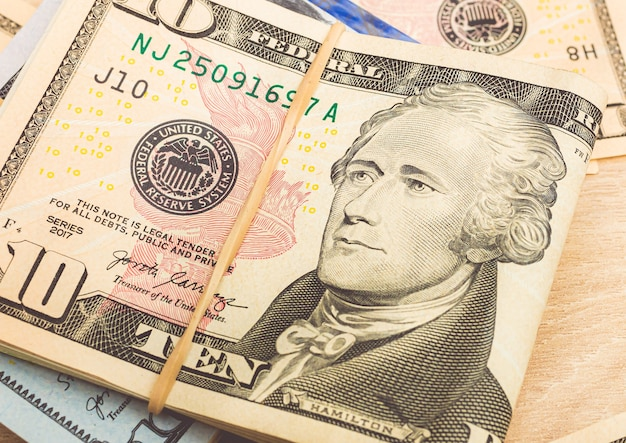 Us dollar  usd dollar banknotes in closeup