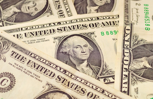 Us dollars banknotes of one dollar in close up photo