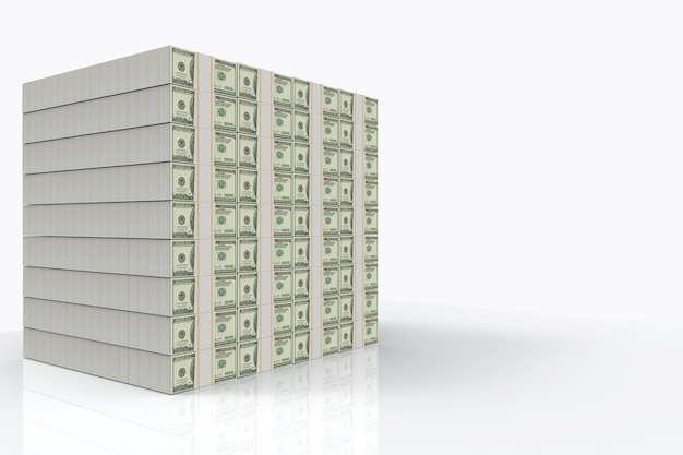 Us hundred dollar banknote stack on copy sapce gray background