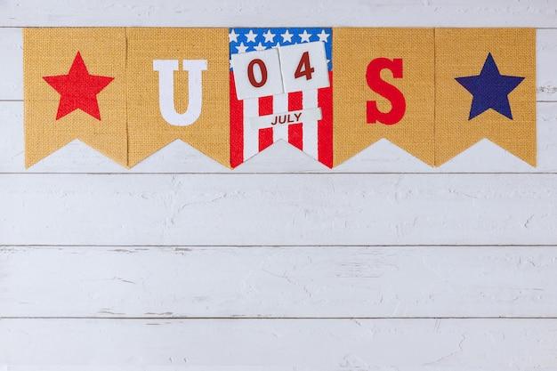 우리. 노동절 현충일의 애국심 연방 공휴일로 장식 된 편지에 서명