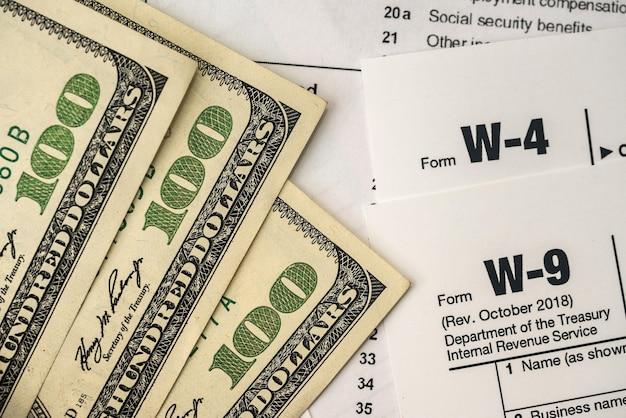 돈이 있는 미국 세금 양식 w4 w9