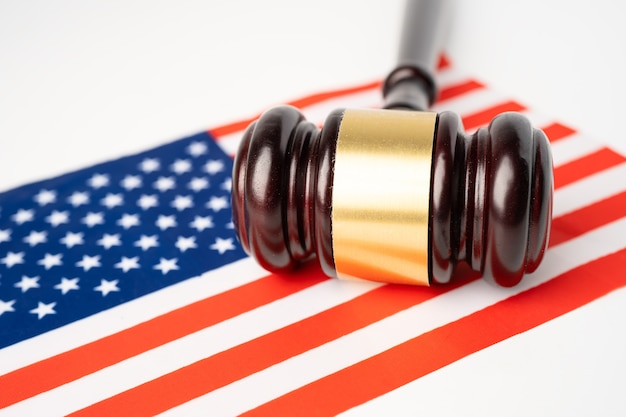 Usa america flag country with gavel for judge lawyer.