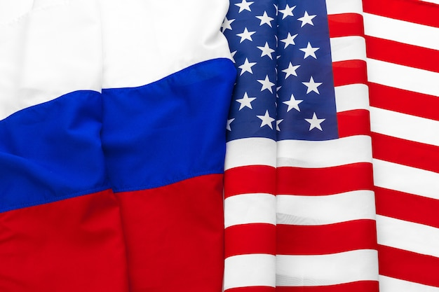 Usa american flag and russian flag together