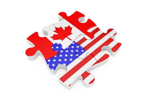 흰색 배경에 플래그로 미국과 캐나다 협력 퍼즐. 3d 렌더링