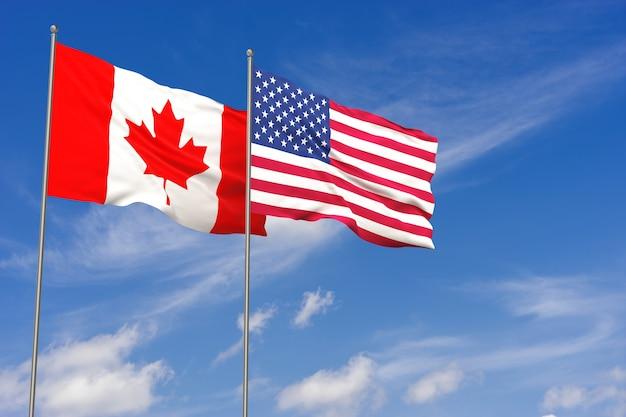 푸른 하늘 배경 위에 미국과 캐나다 플래그입니다. 3d 일러스트레이션