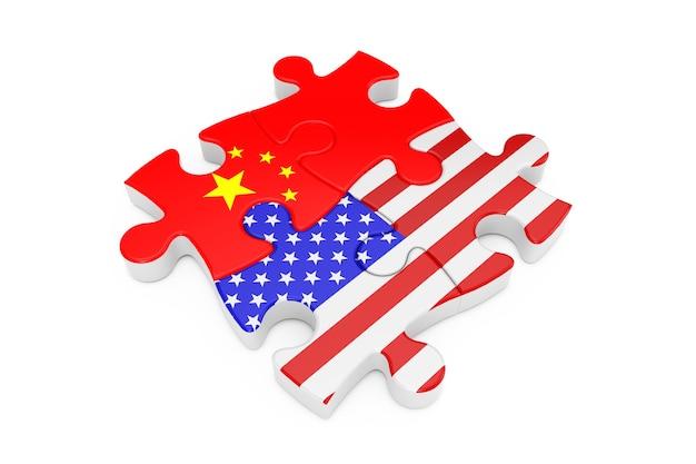 흰색 바탕에 플래그로 미국과 중국 협력 퍼즐. 3d 렌더링