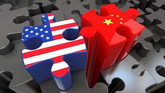 퍼즐 조각에 미국과 중국 플래그입니다. 정치적인 관계 개념입니다. 3d 렌더링