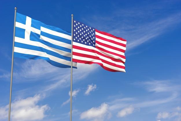 푸른 하늘 배경 위에 미국과 그리스 플래그입니다. 3d 일러스트레이션