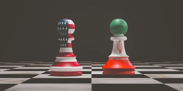 미국과 이란 국기는 3d 렌더를 통해 양국 간의 군사적 충돌에 대한 배경이 있는 체스판에 체스를 폰으로 인쇄하기 위해 화면을 인쇄합니다.