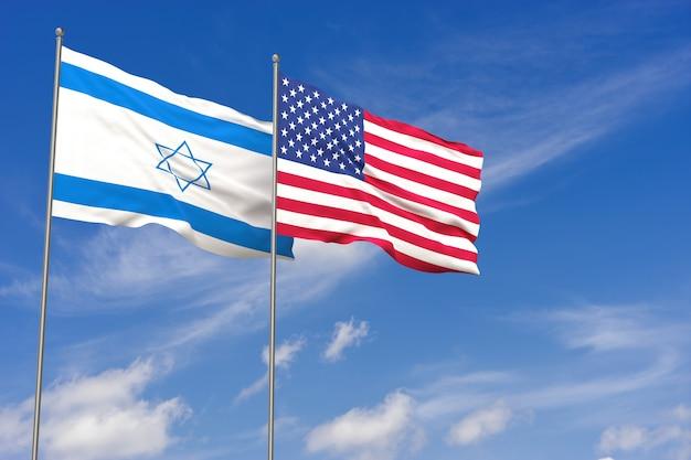 푸른 하늘 배경 위에 미국과 이스라엘 플래그입니다. 3d 일러스트레이션
