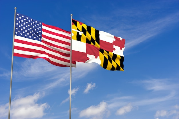 푸른 하늘 배경 위에 미국과 메릴랜드 플래그입니다. 3d 일러스트레이션