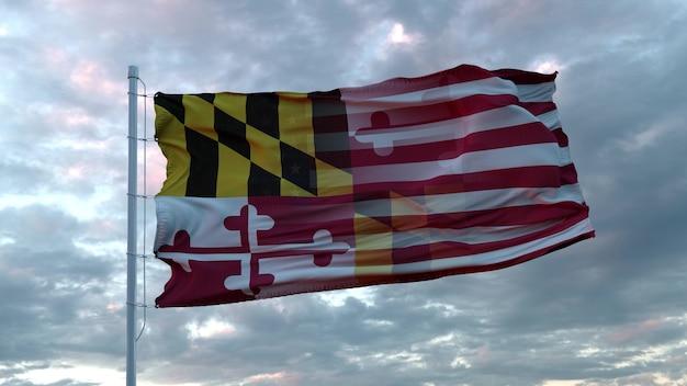 風に揺れるアメリカとメリーランド州の混合旗