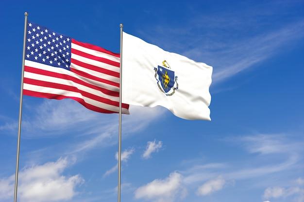 Флаги сша и массачусетса на фоне голубого неба. 3d иллюстрации