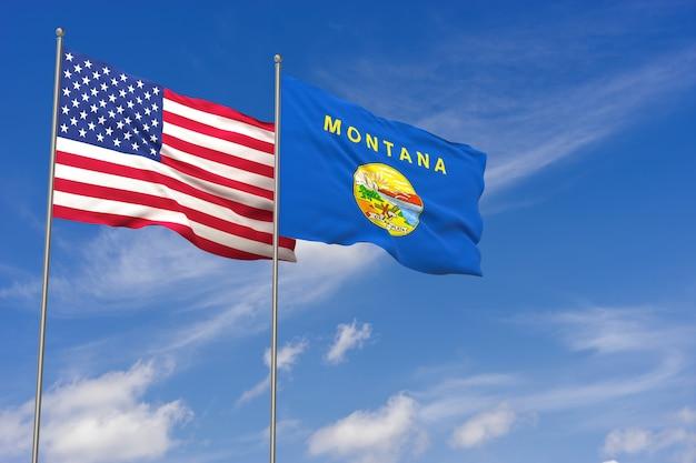 青空の背景にアメリカとモンタナの旗。 3dイラスト