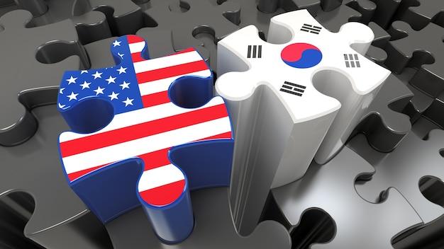 アメリカと韓国はパズルのピースに旗を立てています。政治的関係の概念。 3dレンダリング