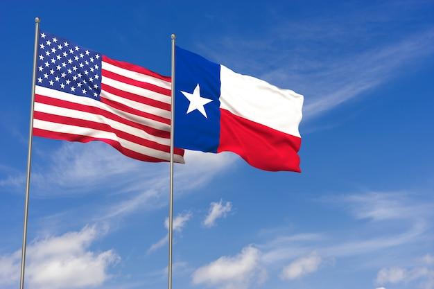 Флаги сша и техаса на фоне голубого неба. 3d иллюстрации