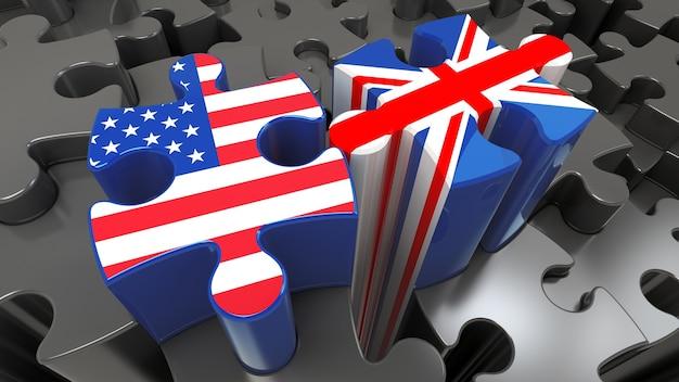 퍼즐 조각에 미국과 영국 플래그입니다. 정치적인 관계 개념입니다. 3d 렌더링