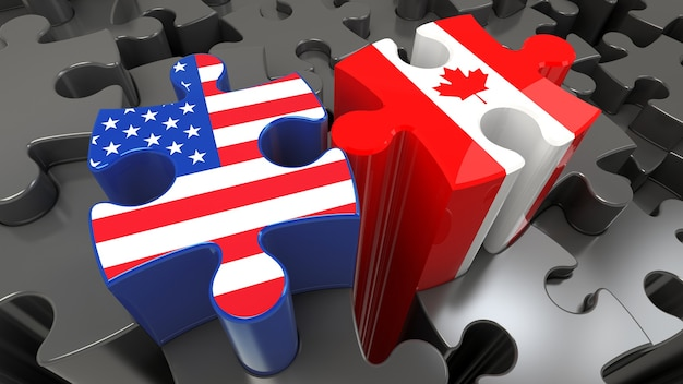 Usa and canada flags on puzzle pieces. political relationship concept. 3d rendering