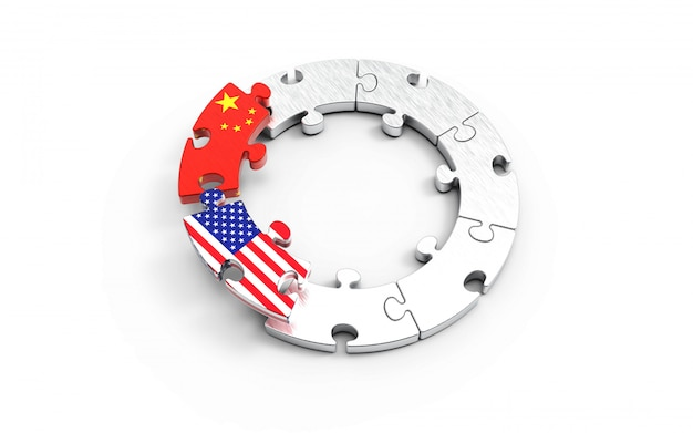 Usa and china flags on puzzle pieces.