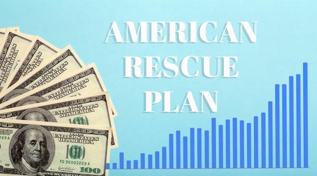 Фон долларов сша. американский план спасения, программа помощи сша, проверка стимулов и концепция закона 2021 года. идея денег, бизнеса, прибыли и средств к существованию. фото высокого качества