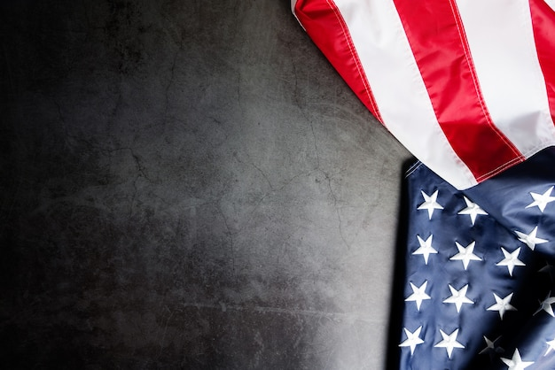 Usa flag, america flag on black background with copy space