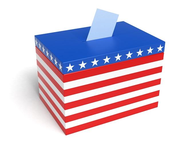 Usa flag ballot box, 3d rendering