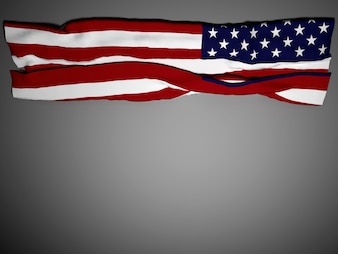 USA flag blowing, 3D rendering