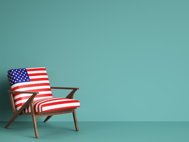 Usa flag chair with copy space. 3d rendering