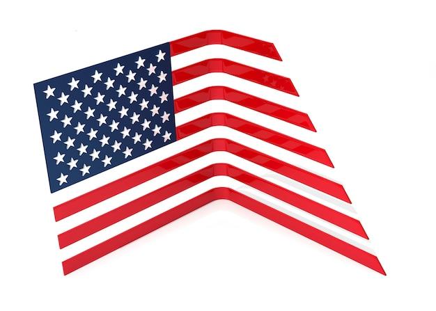 미국 국기 차트 및 성장. 3d 일러스트레이션