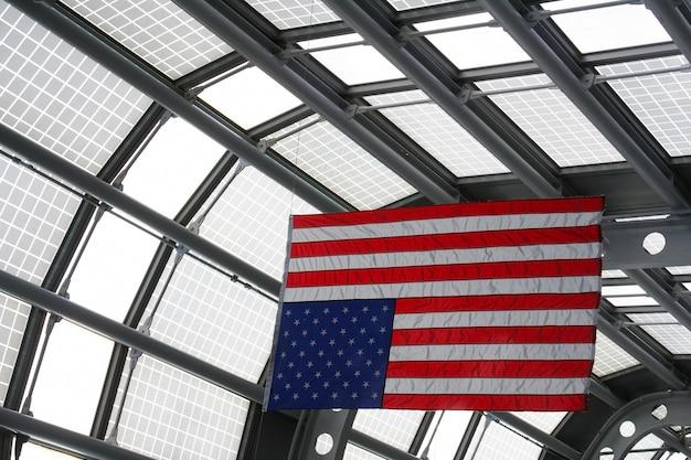 Usa flag at o'hare airport terminal, chicago