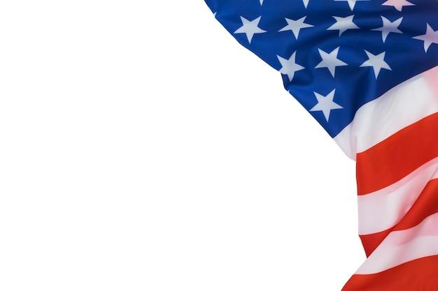 텍스트 복사 공간 흰색 배경에 미국 국기