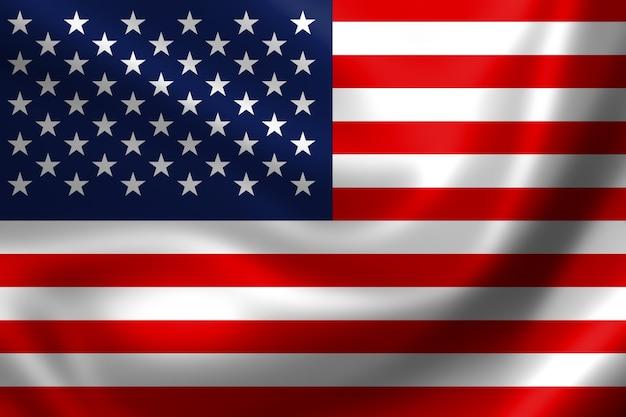 アメリカ国旗、3次元レンダリング、サテンの質感