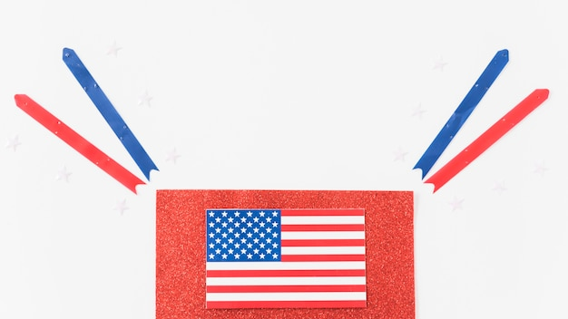 Usa flag on velvet with ribbons