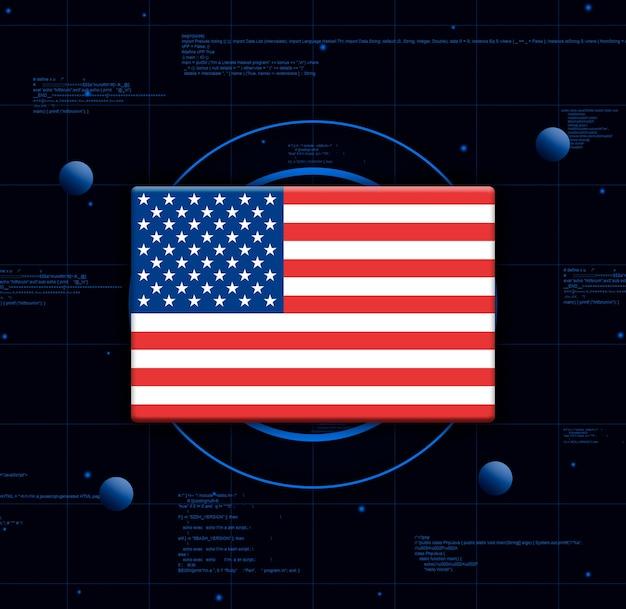 Флаг сша с реалистичными элементами технологии, 3d-рендеринг