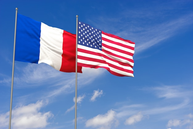 Usa and france flags over blue sky background. 3d illustration