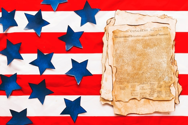 Usa independence day composition with declaration