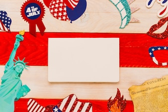 Usa independence day concept with blank paper